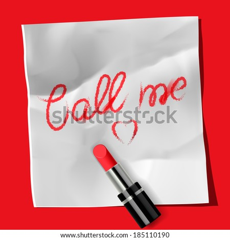"Lipstick and inscription ""Call me�, vector image."