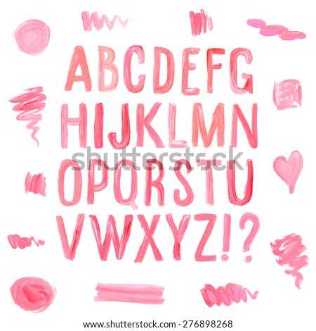 Lipstick and nail polish font and stains. Hand drawn red oil painting alphabet. - stock vector