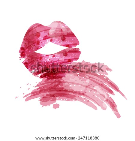 lipstick smudge, watercolor style, isolated vector illustration icon on a white background. - stock vector