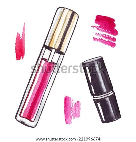 Lipstick. Watercolor Beauty  illustration. - stock vector