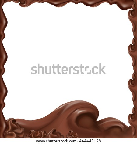 liquid chocolate, flowing, molten, caramel, vector