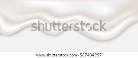 Liquid creamy white texture flowing on wide background, vector illustration.
