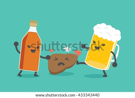 Liquor bottles and beer are damaging the liver.  - stock vector