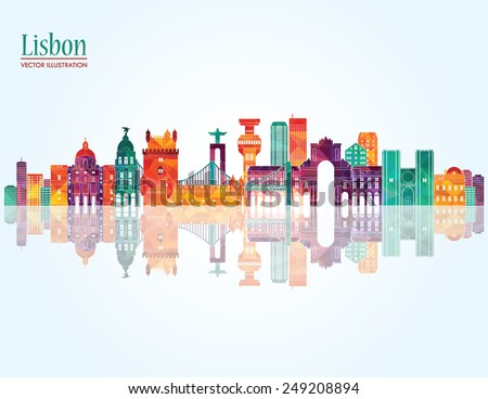 Lisbon detailed skyline. Vector illustration - stock vector