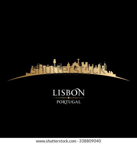 Lisbon Portugal city skyline silhouette. Vector illustration - stock vector