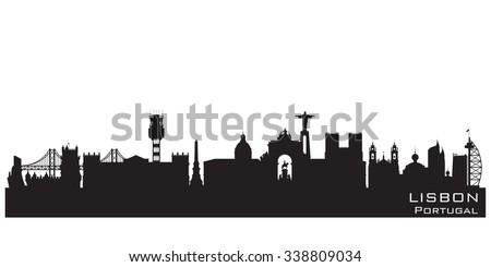 Lisbon Portugal skyline Detailed vector silhouette - stock vector