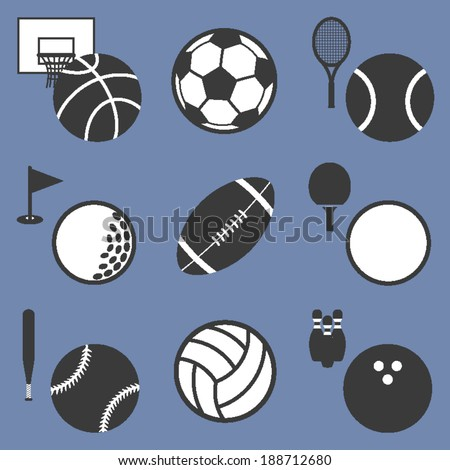 List of ball sports related icons - stock vector