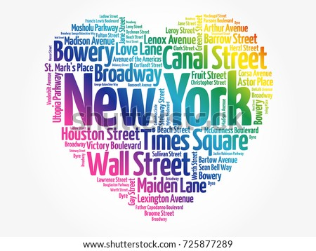 List streets new york city composed stock vector royalty free list of streets in new york city composed in love sign heart shape word cloud publicscrutiny Choice Image