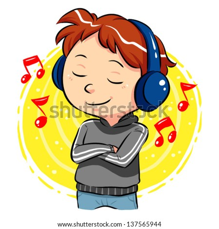 Listening To Music A boy listening to music with headphones on his head. Vector EPS8 file. - stock vector