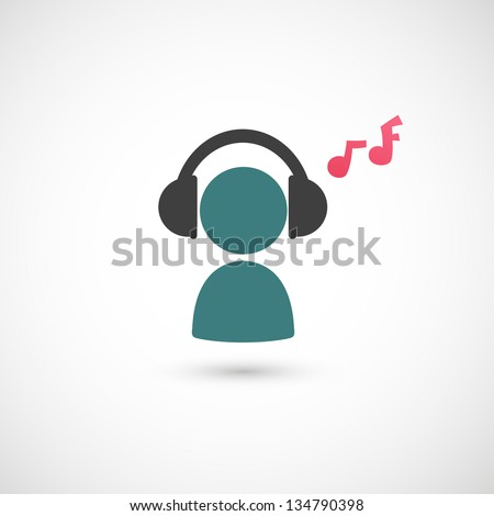listening to music icon vector - stock vector