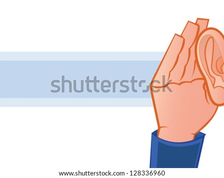 Listening with Hand to Ear Vector Illustration - stock vector