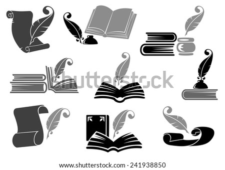 Literary set of gray and black open books, quills feathers, inkwells and parchments icons for historical, poetic and education design - stock vector