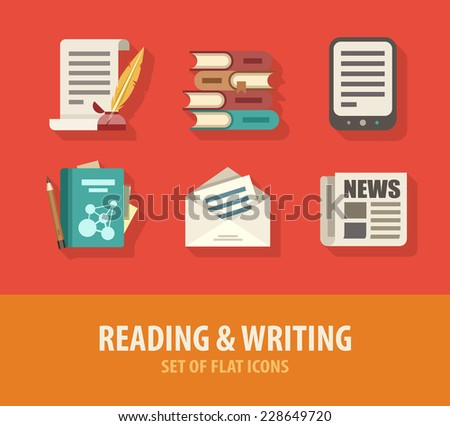 Literature reading and writing set of flat icons. Eps10 vector illustration - stock vector