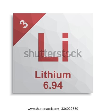 Lithium element periodic table - stock vector