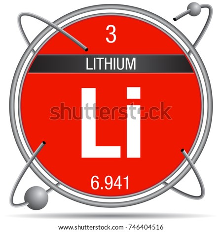 Lithium Symbol Inside Metal Ring Colored Stock Vector 746404516