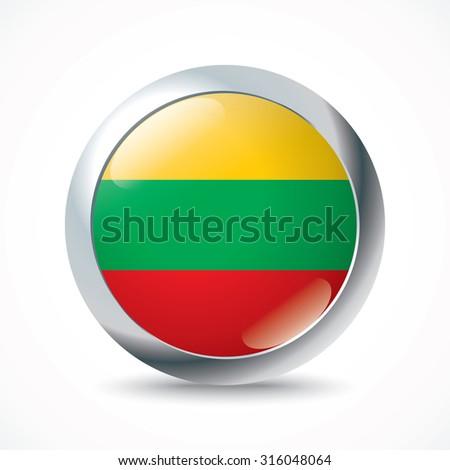 Lithuania flag button - vector illustration - stock vector