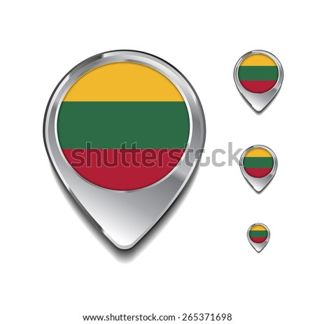 Lithuania flag map pointer. 3d Map Pointer with flag glossy button style on gray background - stock vector