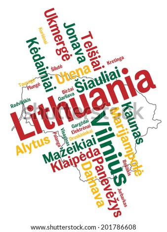Lithuania map and words cloud with larger cities - stock vector
