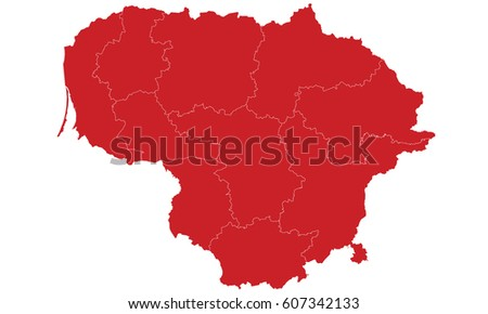 Lithuania map red color