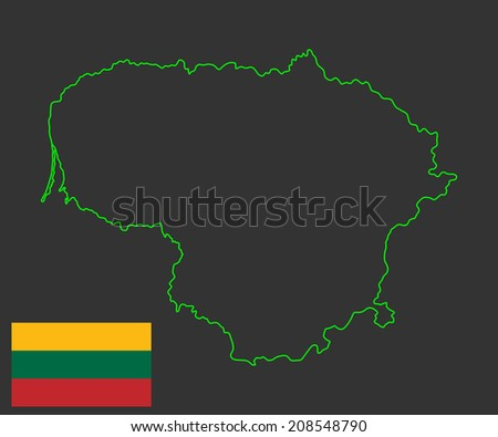 Lithuania vector map and vector flag, high detailed silhouette illustration isolated on black background.  - stock vector