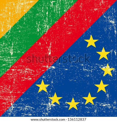 Lithuanian and european grunge Flag. flag of european union members