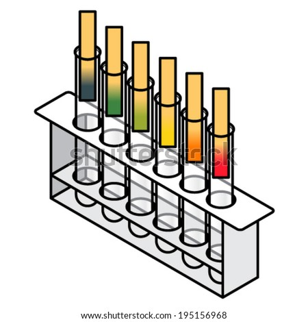Litmus test. Six test tubes with different pH levels shown on litmus paper strips. - stock vector
