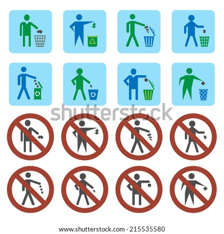 Litter throwing forbidden and allow signs icons set isolated vector illustration - stock vector