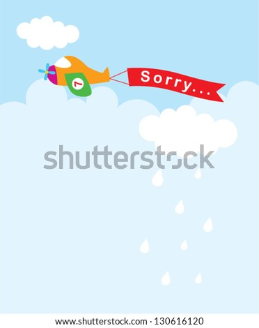 little airplane sorry tag - stock vector