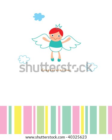 little angel boy arrival greeting card