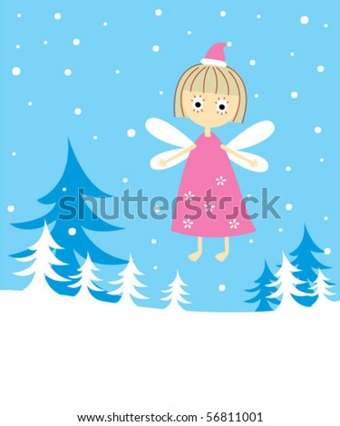 little angel merry christmas - stock vector