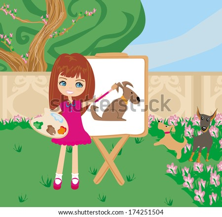 Little artist girl painting dog on large paper canvas  - stock vector
