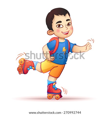 Little asian boy riding on roller skates. Happy child enjoys the speed and freedom  - stock vector