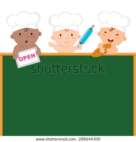 Little baby bakers with board. Cute baby chefs holding rolling pin and bread. - stock vector