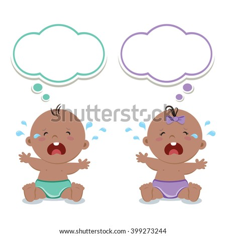 Little baby boy and baby girl crying with thinking bubbles