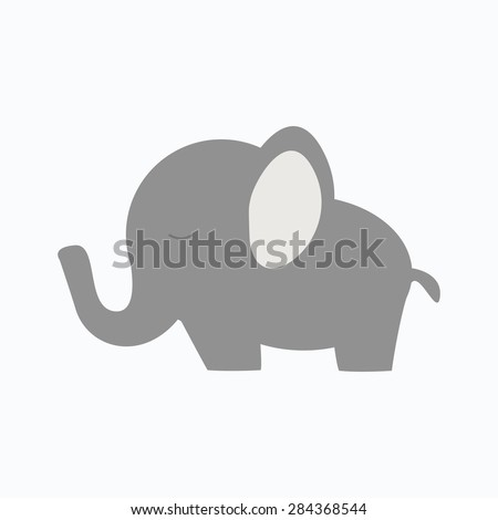 Little baby elephant. Isolated elephant icon on white background. Flat style vector illustration.  - stock vector