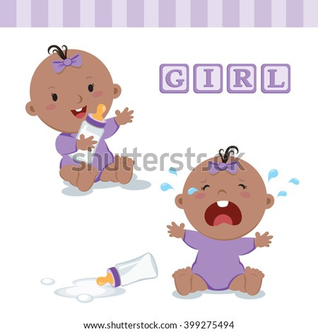 Little baby girl with milk bottle. Vector illustration of a baby girl holding milk bottle and crying with bottle milk.