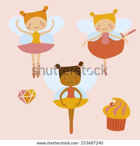 Little ballerinas fairies - stock vector