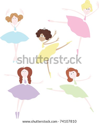 Little Ballerinas in Colorful Tutus - stock vector