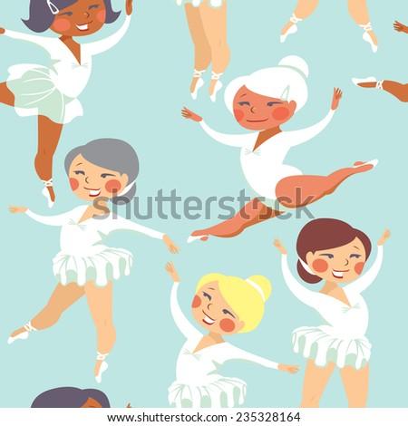 Little ballerinas seamless pattern - stock vector