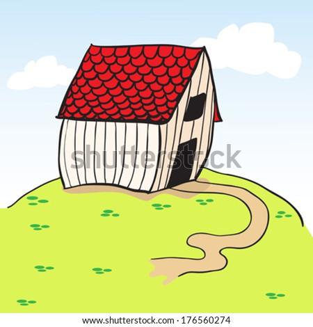 little barn on a green hill cartoon - stock vector