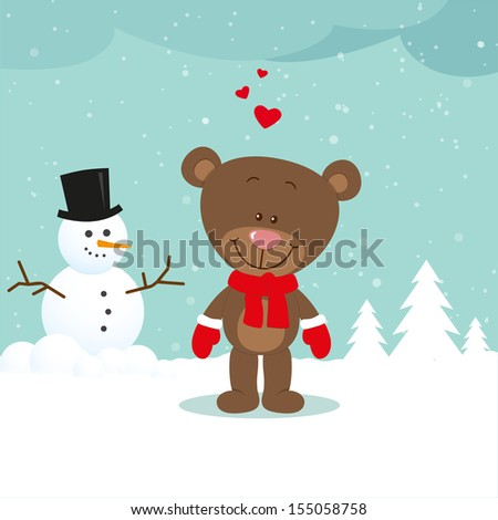 Little bear with snowman - stock vector