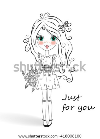 Little beautiful cute girl with a bouquet of daisies on a background with the words just for you. - stock vector