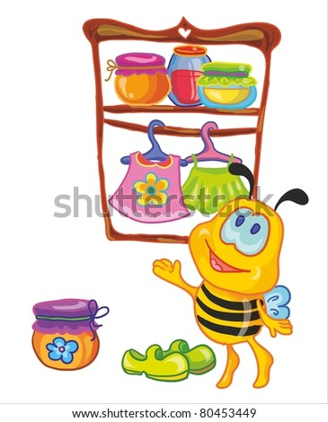 little bee in the cloakroom - stock vector