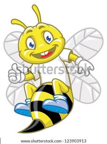little bee pose with thumb up