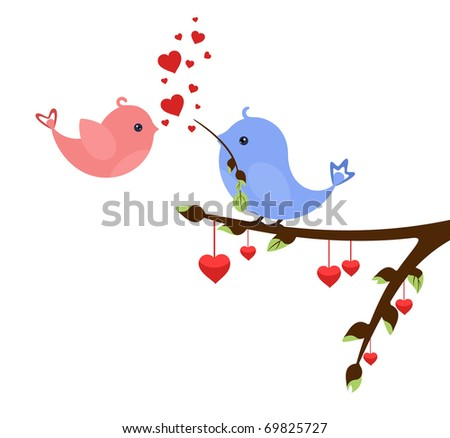 Little birds in love with hearts on early spring twig. Valentine's idea for Your design - stock vector