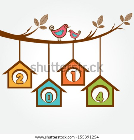 Little birds on branch with 2014 happy new year text - stock vector