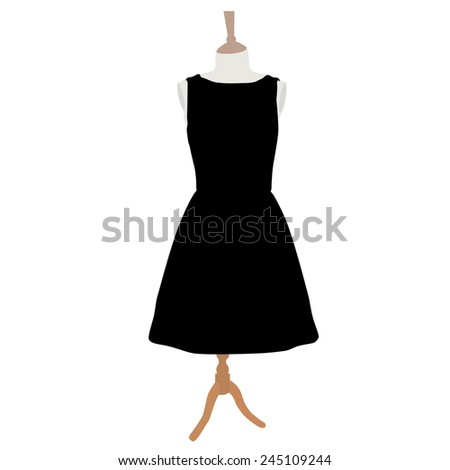 Little black cocktail woman dress on mannequin vector  isolated on white