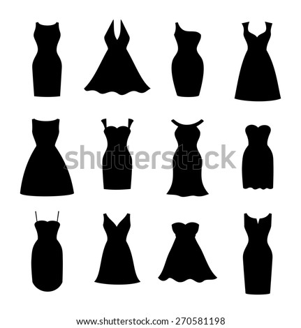 Little black dress fashion boutique. Set of 12 different design of elegant and pretty cocktail and evening woman dresses. silhouette style, vector art image illustration, isolated on white background - stock vector