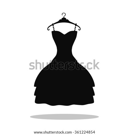 Little  black dress  icon.Fashion Logo Template,background.Vector Black party Dress.Isolated sign on white.Simple flat vector dress silhouette hanging on hanger.Dress Icon Object.EPS icon.Flat  dress - stock vector