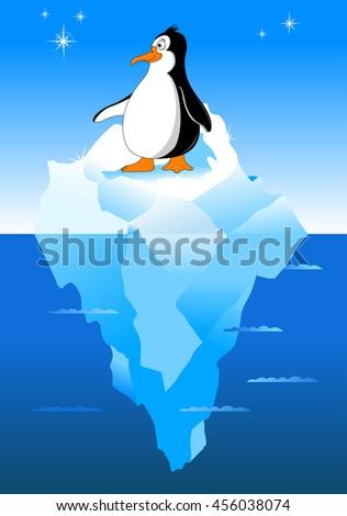 little black penguin with orange beak on a white background - stock vector